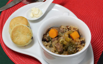 Beef stew with cherry brown rice