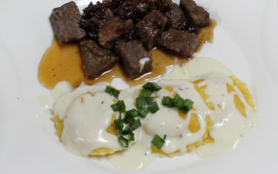 Dexter's ravioli with marinated beef tips