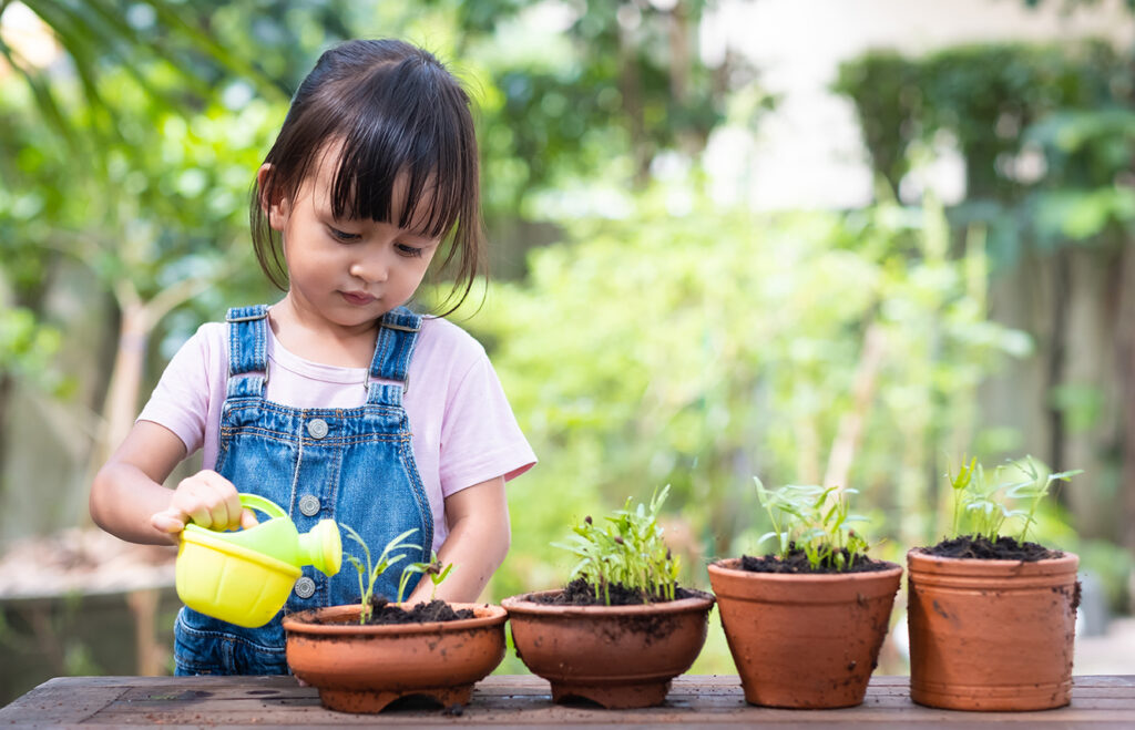Little girl in overalls watering plants in pots with a yellow watering can.